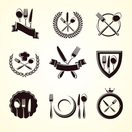 Restaurant labels set. Vector