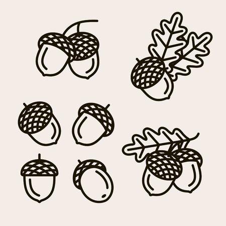 Illustration pour Acorns set. Collection icon acorns. Vector - image libre de droit