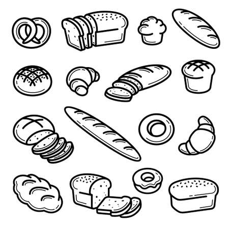 Illustration pour Bread set. Collection bread icons. Vector - image libre de droit