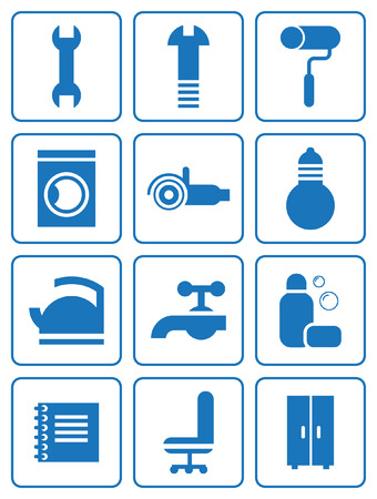 set of household accessories icons