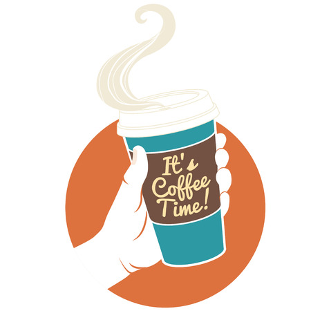 Vector illustration hand holding disposable coffee cup. Cardboard cover with text It's coffee time!