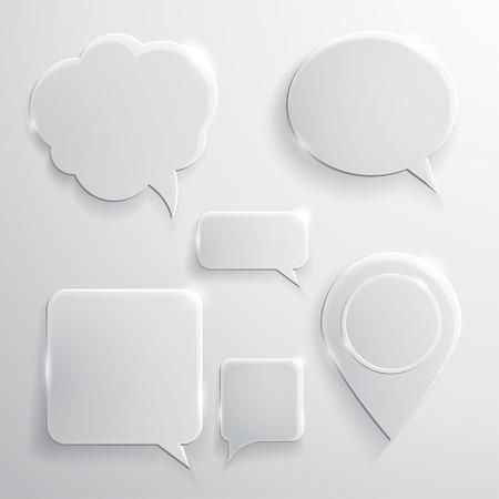 Illustration pour Set of glass speech bubbles clouds and icons - image libre de droit