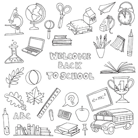 Photo for Vector illustration Back to school set of kids doodles with bus, books, computer, blackboard and world map - Royalty Free Image