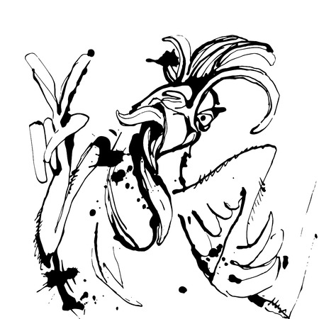 Illustration pour Vector illustration Funny hand drawn cock showing victory sign and winking. Sketch drawing cartoon rooster - image libre de droit