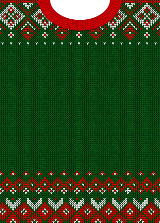 Ilustración de Ugly sweater Merry Christmas and Happy New Year greeting card template. Vector illustration Handmade knitted background pattern with scandinavian ornaments. White, red, green colors. Flat style - Imagen libre de derechos