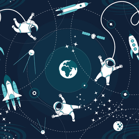 Ilustración de Space orbit spaceships cosmos astronaut spaceman characters exploring outer space seamless abstract background cartoon pattern for wallpaper, textile, prints. Flat line design. Vector illustration. - Imagen libre de derechos