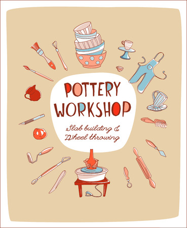 Illustration pour Clay Pottery Workshop Studio invitation. Artisanal Creative Craft logo concept. Handmade traditional pottery making, hand drawn vector illustration doodle style - image libre de droit