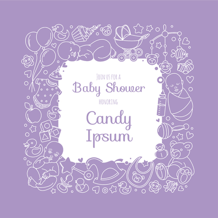 Vector Illustration Cute Baby Shower Invitation Card For