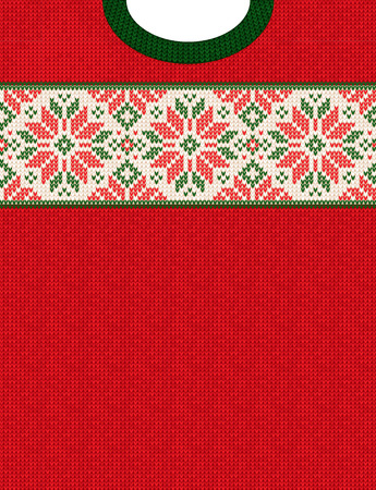 Ilustración de Ugly sweater Christmas Season Winter Sale Poster. Vector illustration knitted background pattern with deers snowflakes, scandinavian ornaments for advertising flyers, banners. White, red, green colors - Imagen libre de derechos