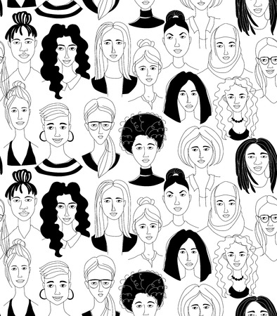 Ilustración de Decorative woman's head seamless pattern background Girl Power Feninist Happy International Women's Day. Hand drawn spring grunge line drawing doodle black and white vector illustration poster - Imagen libre de derechos