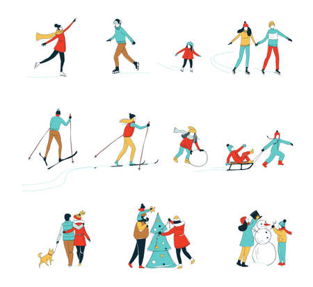 Illustration pour Decorative women men kids children winter activities set background. Winter sport Christmas decorating skiing ice skating fun. Hand line drawing doodle colored vector illustration poster - image libre de droit