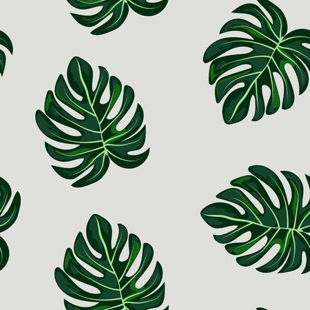 Illustration pour Blue tropical leaves monstera pattern. Tropical seamless pattern with leaf monstera. - image libre de droit
