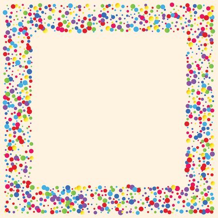 Illustration for Festive background with multicolored confetti. Yellow, pink, blue circles but against a white background. Flying confetti. - Royalty Free Image