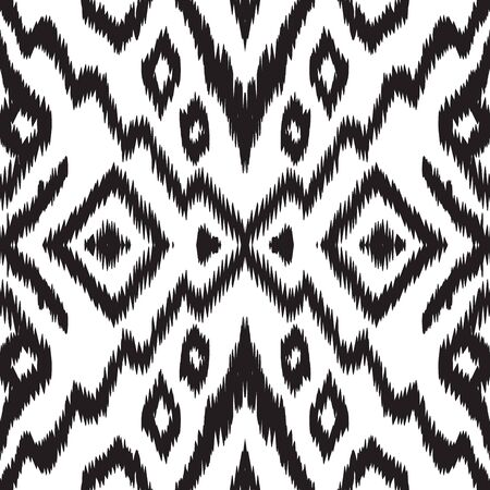 Illustration pour Black and White Fashion Tribal Vector Seamless Pattern. Ogee Tile Uzbek Background. Indian Trendy Texture. Black Chevron Japan Vector Seamless Pattern - image libre de droit