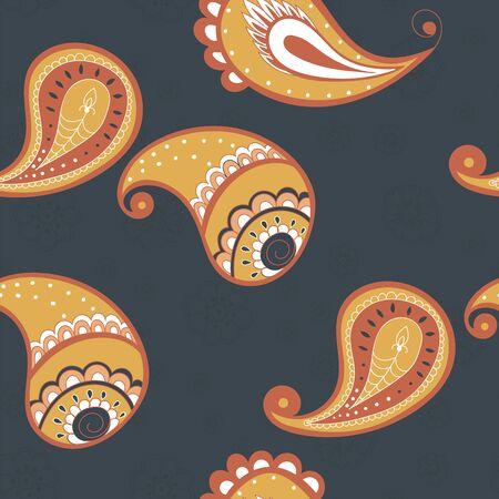 Illustration pour Red Paisley Ethnic Vector Seamless Pattern. Turkish Ornament Background. Lace Asian Tile. Yellow Elegant Wallpaper. - image libre de droit