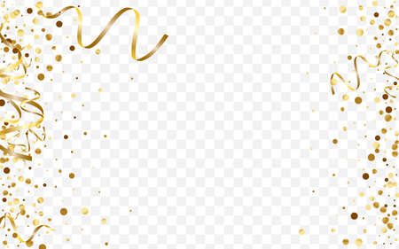 Illustration for Gold Vector Polka Illustration. Metallic Glitter Pattern. Yellow Dot Round Template. Effect Circle Texture. Golden Birthday Card. - Royalty Free Image
