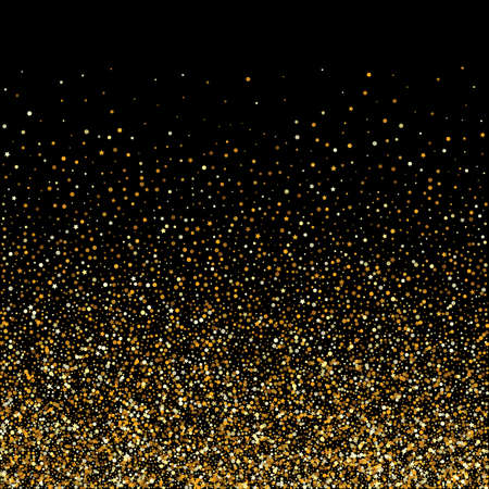 Illustration for Yellow Dust Vector Black Background. Isolated Sparkle Design. Gold Dot Transparent Banner. Splash Rich Card. - Royalty Free Image