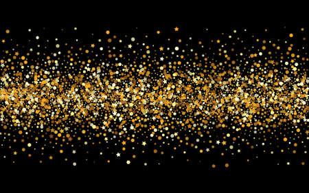 Illustration pour Yellow Glow Effect Black Background. Christmas Shine Design. Golden Circle Golden Wallpaper. Dot Abstract Pattern. - image libre de droit