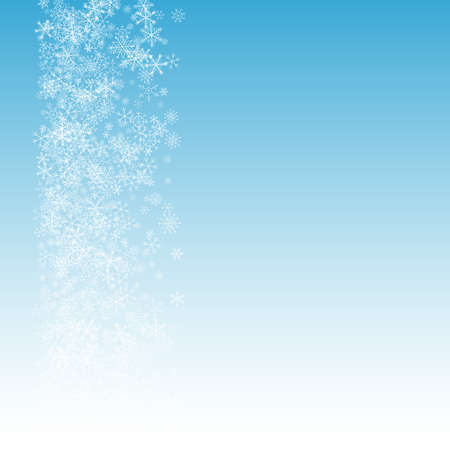 Illustration pour Gray Snowfall Vector Blue Background. Sky Snow Texture. Silver Christmas Holiday. Xmas Snowflake Illustration. - image libre de droit