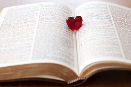 Heart on a bible, love for God s Word