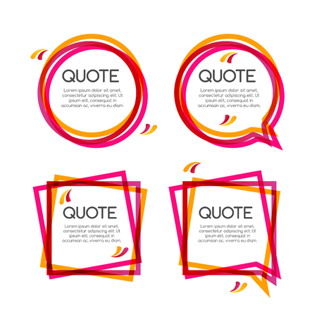 Vector set quote frame, colorful quote frames for modern design.