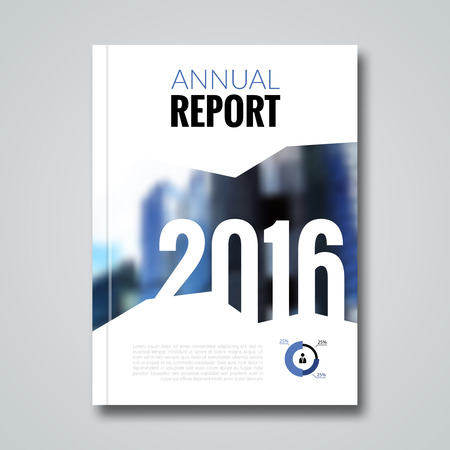 Annual report design template with blur background.