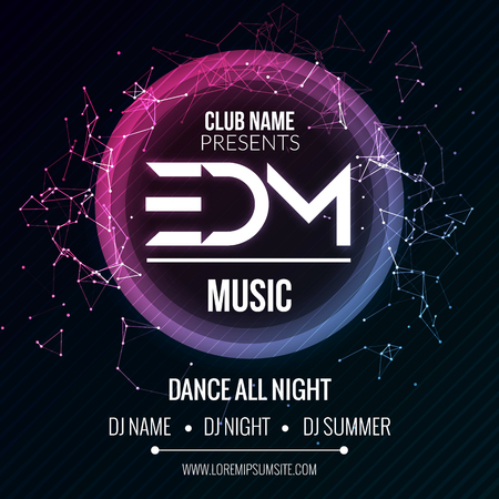 Ilustración de EDM Club Music Party Template, Dance Party Flyer, brochure. Night Party Club sound Banner Poster - Imagen libre de derechos