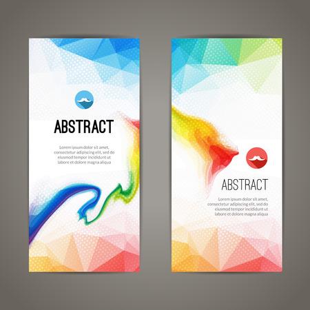 Ilustración de Set of polygonal triangular colorful geometric banners for innovate youth modern design. - Imagen libre de derechos