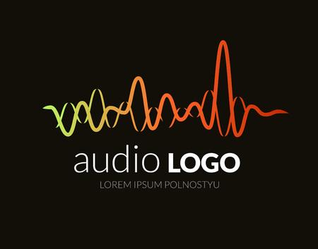 Illustration pour Logo sound wave, studio music dj. Audio system. Brand, branding. Company corporate identity or logotype. Clean and modern style design. - image libre de droit