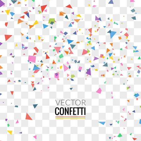 Illustration pour Colorful Confetti on Transparent square Background. Christmas, Birthday, Anniversary Party Concept. Vector Illustration. - image libre de droit