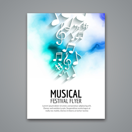 Ilustración de Colorful vector music festival concert template flyer. Musical flyer design poster with notes. - Imagen libre de derechos