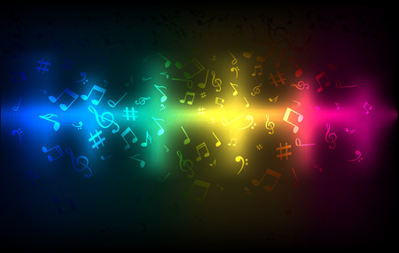 Illustration pour Abstract audio sound wave equalizer. Music sound concept colorful dark glowing template - image libre de droit