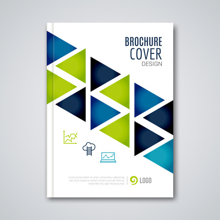 Illustration for Cover flyer report colorful triangle geometric prospectus design background, cover flyer magazine, brochure book cover template layout, vector illustration. - Royalty Free Image