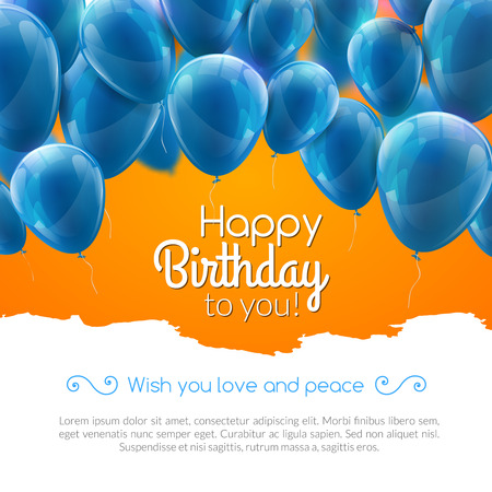 Ilustración de Vector happy birthday card with blue balloons, party invitation - Imagen libre de derechos