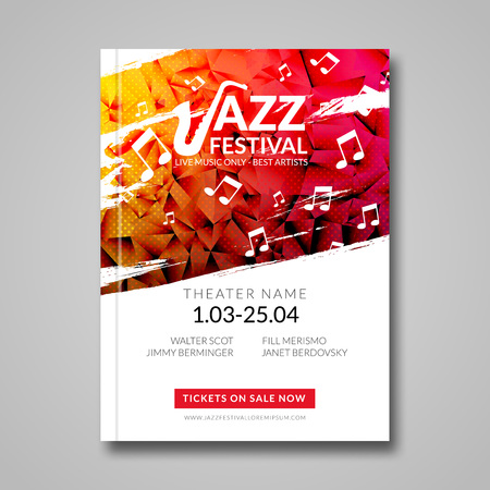Ilustración de Vector musical flyer Jazz festival. Music background festival brochure flyer template. - Imagen libre de derechos