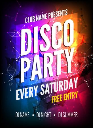Illustration pour Disco Party Poster Template. Night Dance Party flyer.  Disco party design template on dark colorful background. Disco dance party background - image libre de droit