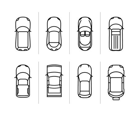 Illustration pour Vector set outline cars top view. Vector car icons. - image libre de droit