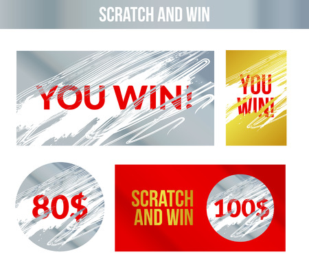 Illustration for Scratch and win labels. Scratch marks effect. Winner concept lottery. - Royalty Free Image