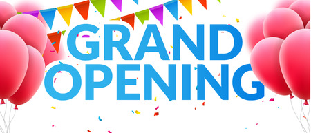 Illustration pour Grand Opening event invitation banner with balloons and confetti. Grand Opening poster template design. - image libre de droit