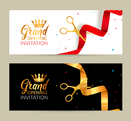 Illustration pour Grand Opening invitation banner. Golden Ribbon and red ribbon cut ceremony event. Grand opening celebration card. - image libre de droit