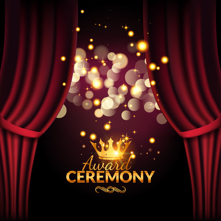 Illustration pour Award ceremony design template. Award event with red curtains. Performance premiere ceremony design. - image libre de droit