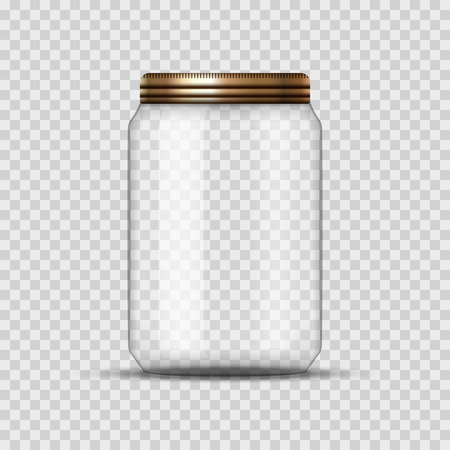 Illustration pour Glass Jar for canning and conservation. Vector empty jar design template with cover or lid on transparent. - image libre de droit