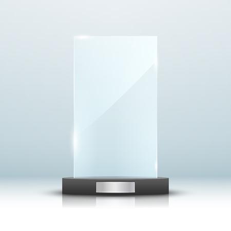 Glass trophy award isolated  Vector blank award on bright