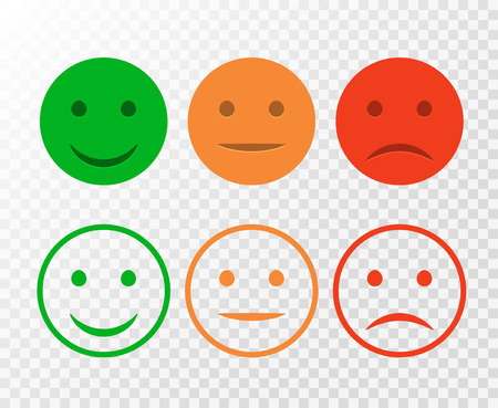 Illustration pour Smiley icon set. Emoticons positive, neutral and negative. Vector isolated red and green mood. Rating smile for customer opinion isolated. - image libre de droit