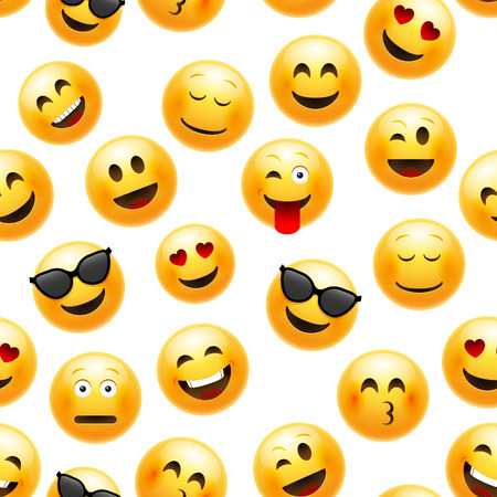 Ilustración de Emoji seamless pattern. Vector smiley face character illustration on white. - Imagen libre de derechos