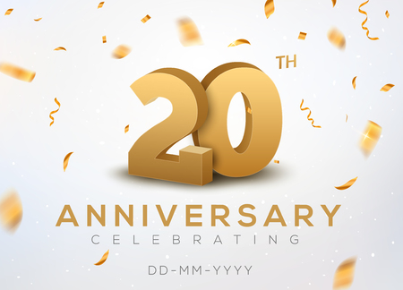 Ilustración de 20th Anniversary gold numbers with golden confetti design template - Imagen libre de derechos