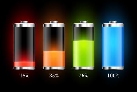 Ilustración de Battery charge design. Full charge energy for mobile phone. Accumulator indicator vector icon of power level. - Imagen libre de derechos