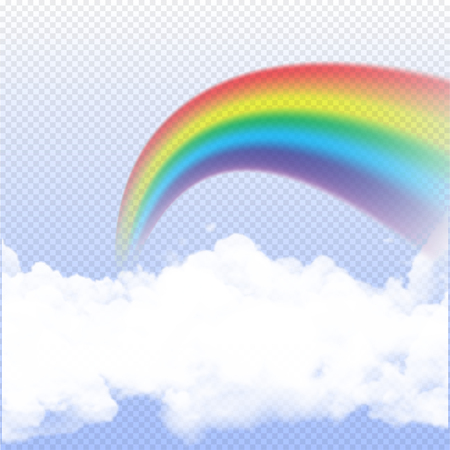 Rainbow realistic on transparent background with clouds