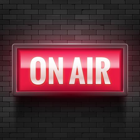 Ilustración de ON AIR studio light sign. Media broadcasting warning sign. Live board production record attention. - Imagen libre de derechos
