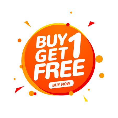 Illustration pour Buy 1 Get 1 Free sale tag. Banner design template for marketing. Special offer promotion or retail. - image libre de droit
